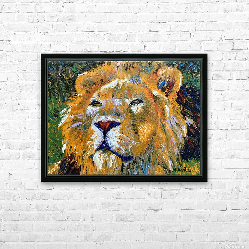 Lion Closeup HD Sublimation Metal print with Decorating Float Frame (BOX)