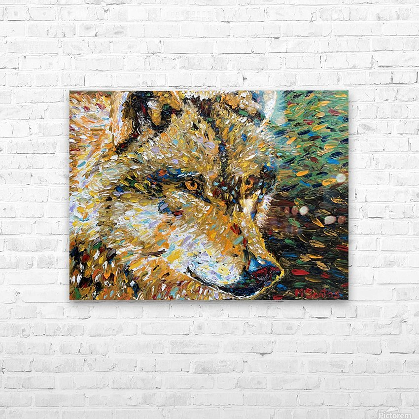 Wolf Closeup HD Sublimation Metal print with Decorating Float Frame (BOX)