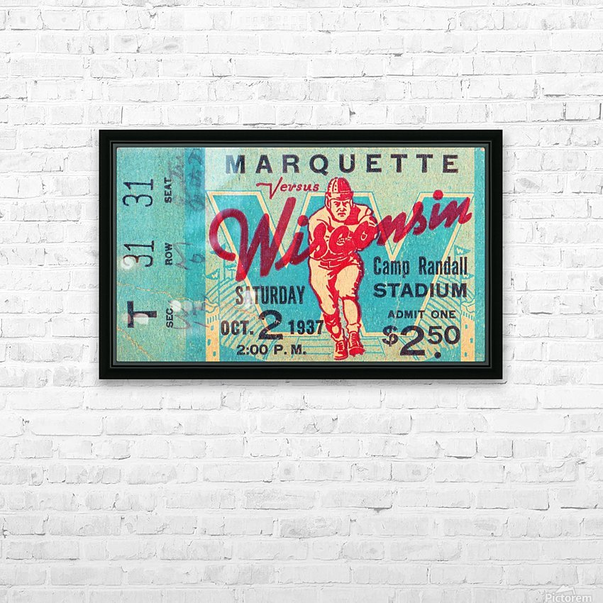 1937_College_Football_Marquette vs. Wisconsin_Camp Randall Stadium_Madison_Row One Tickets Row 1 HD Sublimation Metal print with Decorating Float Frame (BOX)