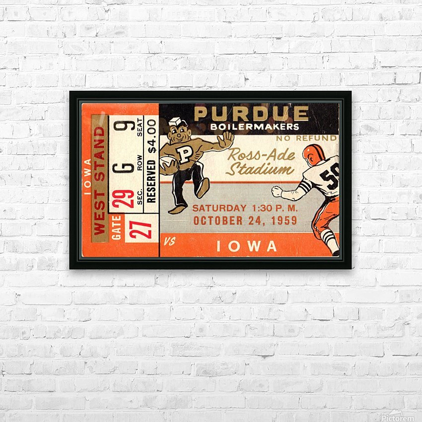 1959_College_Football_Purdue vs. Iowa_Ross Ade Stadium_Row One Ticket Stub Art HD Sublimation Metal print with Decorating Float Frame (BOX)