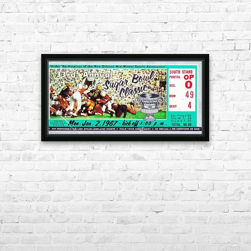 1967_College_Football_Sugar Bowl_Nebraska vs. Alabama_Tulane Stadium_Row One Brand Ticket Stub Art HD Sublimation Metal print with Decorating Float Frame (BOX)