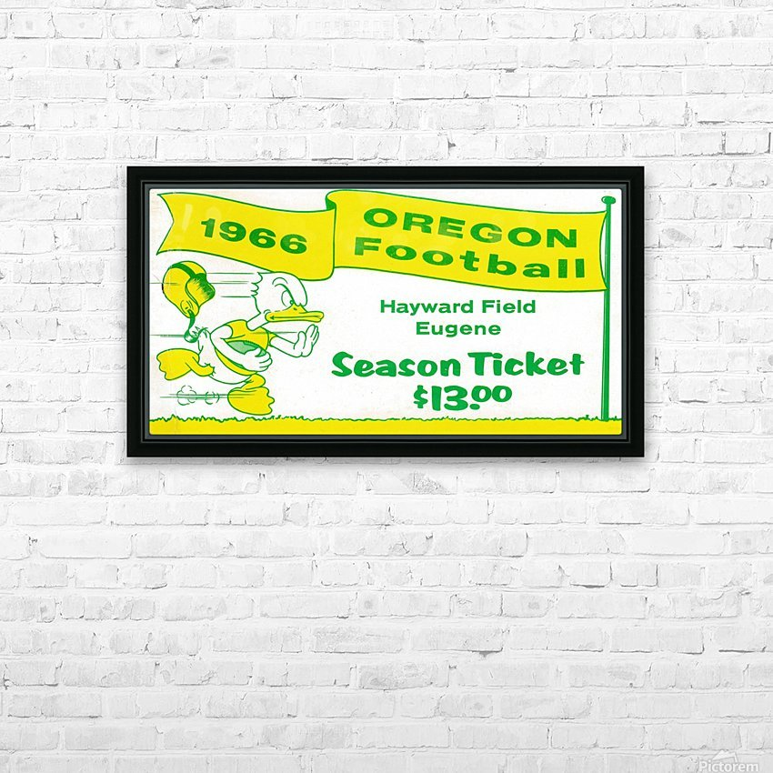 1966 Oregon Duck Season Ticket HD Sublimation Metal print with Decorating Float Frame (BOX)