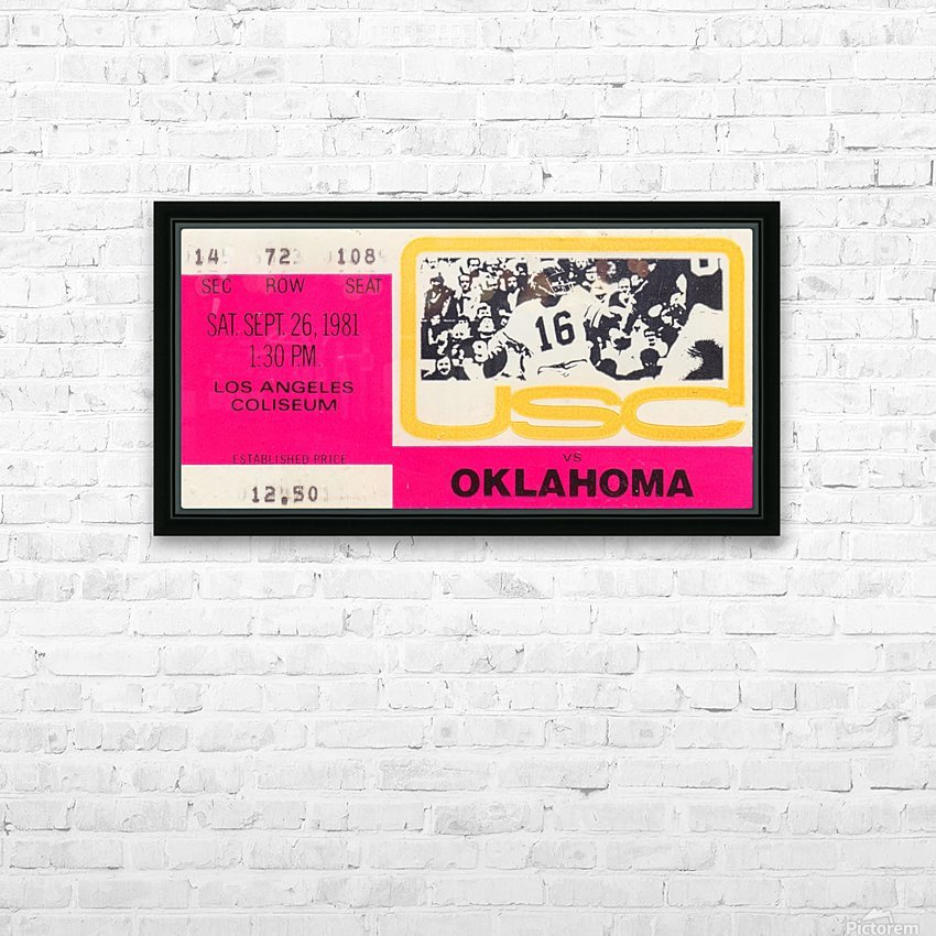 1981_College Football Art_USC vs. Oklahoma_Los Angeles Coliseum_College Football Rivalry Ticket HD Sublimation Metal print with Decorating Float Frame (BOX)