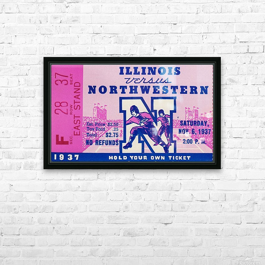 1937_College Football Collection_Northwestern vs. Illinois_Historic Dyche Stadium Evanston_Ticket HD Sublimation Metal print with Decorating Float Frame (BOX)