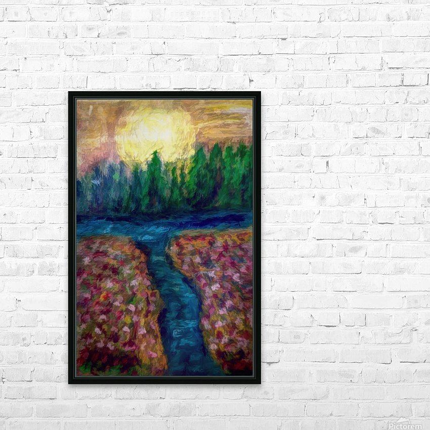Moon over River HD Sublimation Metal print with Decorating Float Frame (BOX)