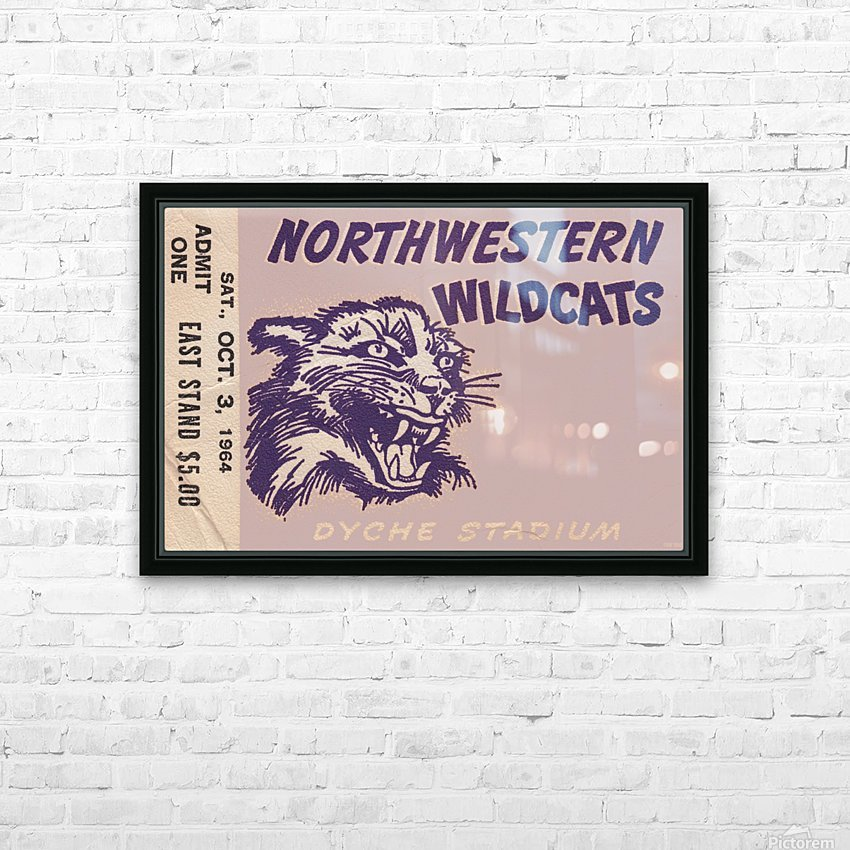 Northwestern University Wildcats College Football Wall Art Ticket Stub HD Sublimation Metal print with Decorating Float Frame (BOX)