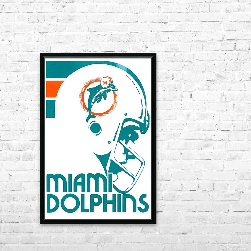 National Football League_Retro Miami Dolphins 1970s Art Reproduction HD Sublimation Metal print with Decorating Float Frame (BOX)