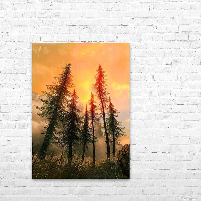 Pine Woods Sunset Fantasy HD Sublimation Metal print with Decorating Float Frame (BOX)