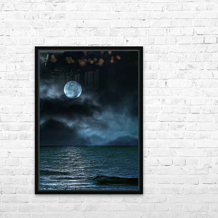 Cloudy Moon Shore at Night HD Sublimation Metal print with Decorating Float Frame (BOX)