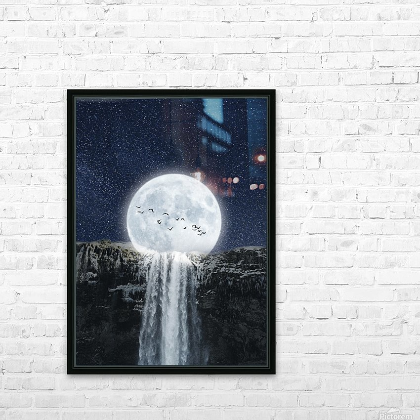 Moon Waterfall Fantasy HD Sublimation Metal print with Decorating Float Frame (BOX)