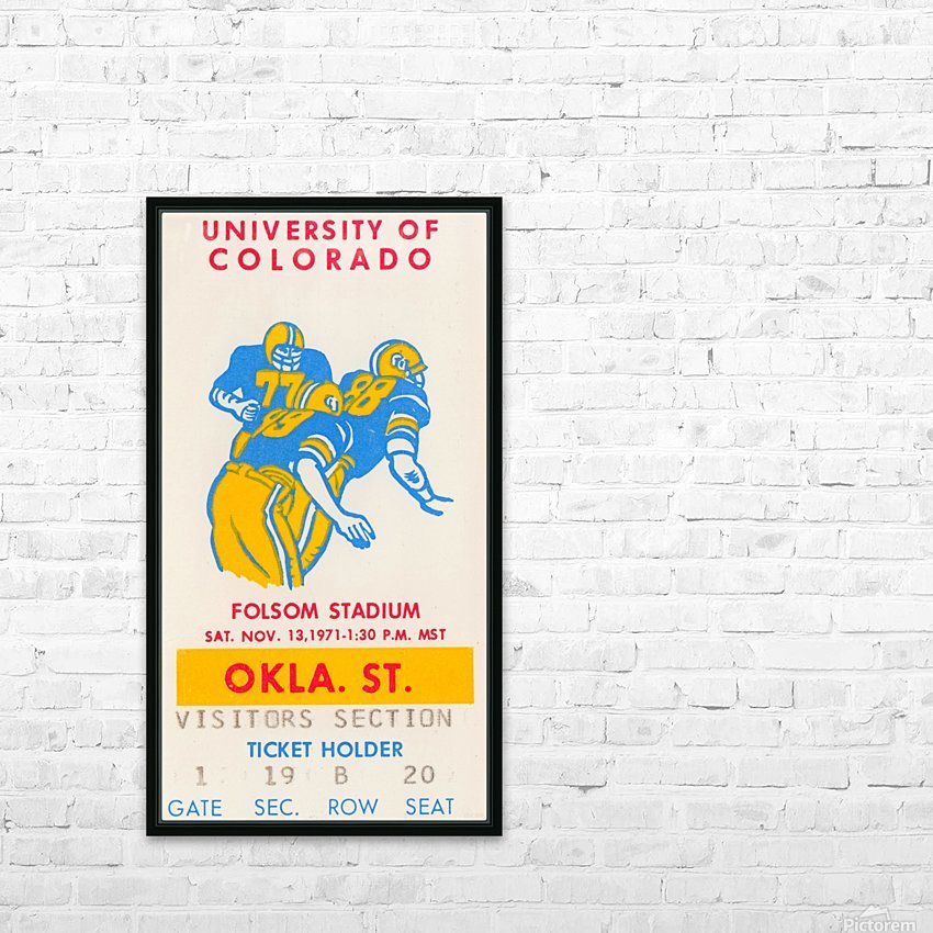 1971 Oklahoma State vs. Colorado HD Sublimation Metal print with Decorating Float Frame (BOX)