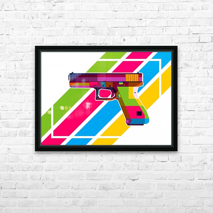 Glock Handgun HD Sublimation Metal print with Decorating Float Frame (BOX)