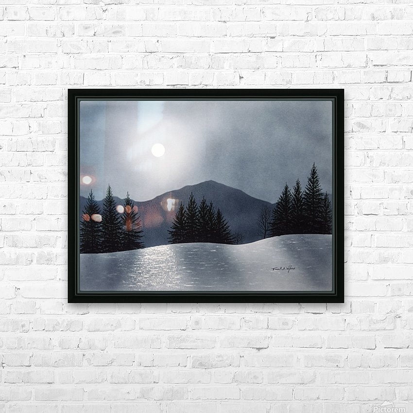 Mountain Moon HD Sublimation Metal print with Decorating Float Frame (BOX)