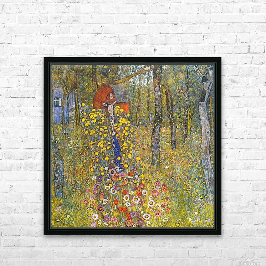 Farmers garden with crucifix by Klimt HD Sublimation Metal print with Decorating Float Frame (BOX)