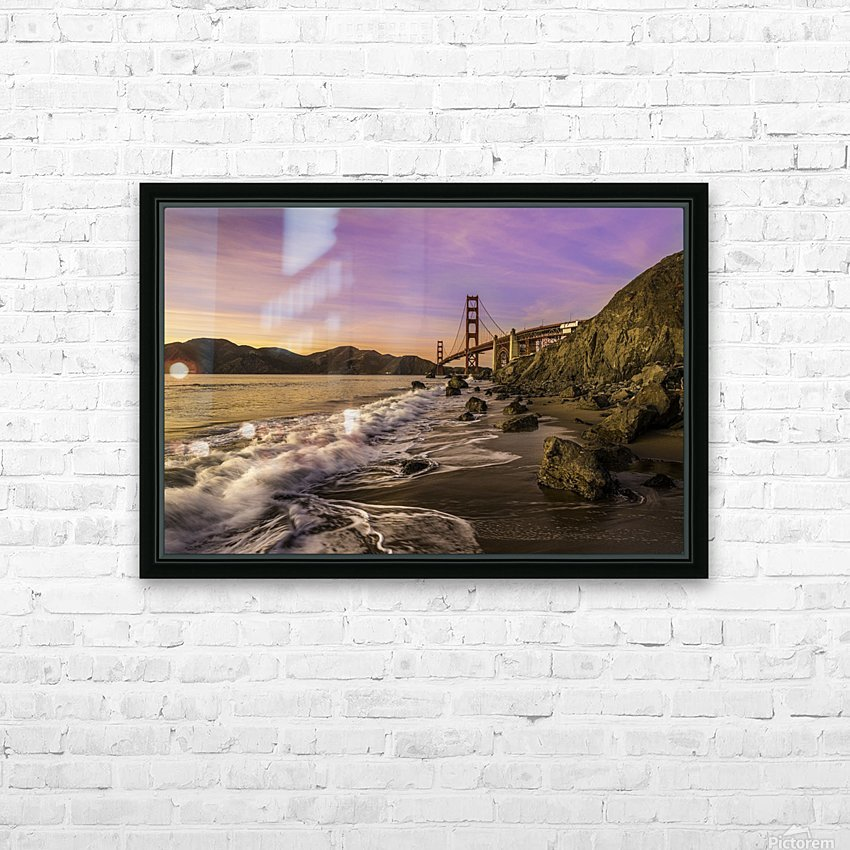 Golden Gate Sunset HD Sublimation Metal print with Decorating Float Frame (BOX)