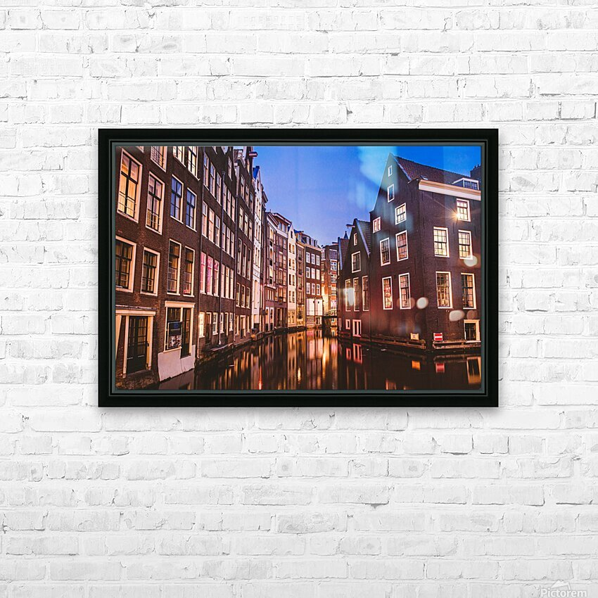 Amsterdam Lights HD Sublimation Metal print with Decorating Float Frame (BOX)