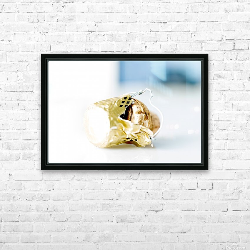 Popped Champagne cork and foil HD Sublimation Metal print with Decorating Float Frame (BOX)
