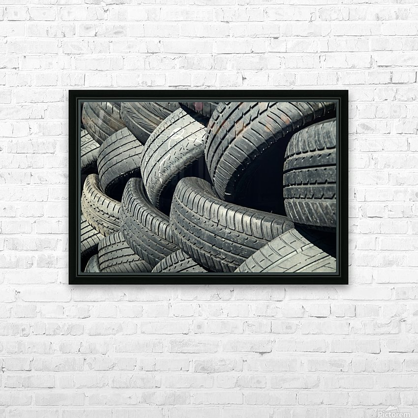 Tires stacked for recycling HD Sublimation Metal print with Decorating Float Frame (BOX)