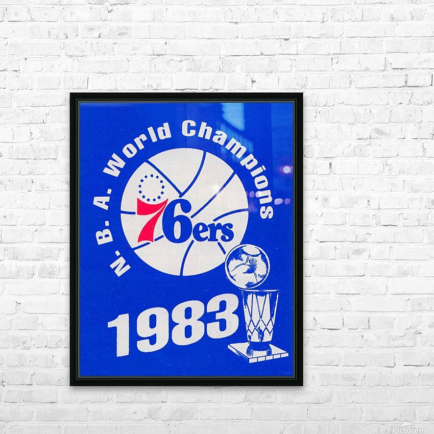 1983 NBA World Champions Philadelphia 76ers Art Reproduction 1 HD Sublimation Metal print with Decorating Float Frame (BOX)