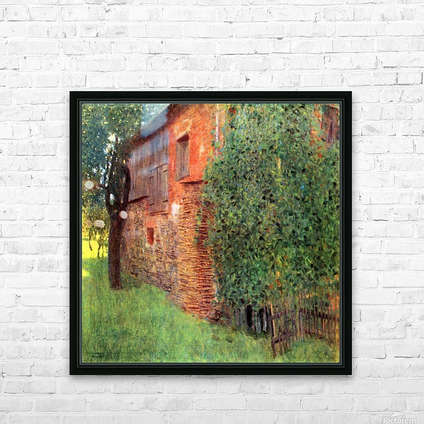 Farmhouse in Chamber in Attersee by Klimt HD Sublimation Metal print with Decorating Float Frame (BOX)