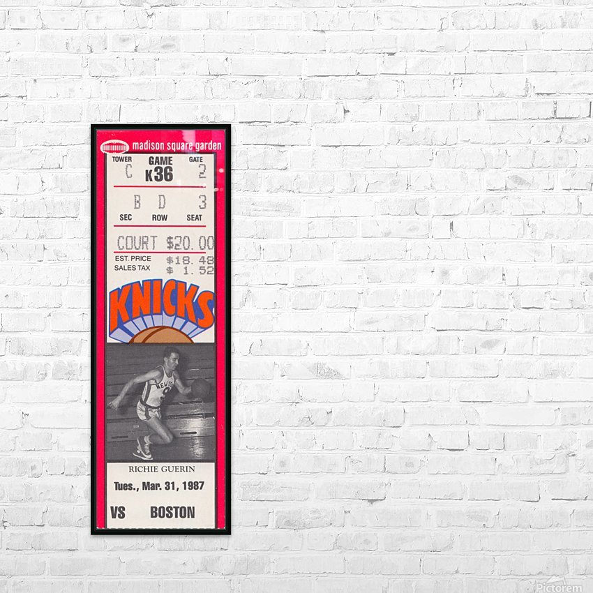 1987 New York Knicks vs. Boston Celtics Basketball Ticket Stub Art Reproduction HD Sublimation Metal print with Decorating Float Frame (BOX)
