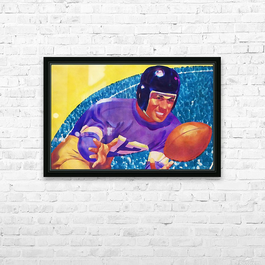 Football Art Watercolor Sports Art HD Sublimation Metal print with Decorating Float Frame (BOX)