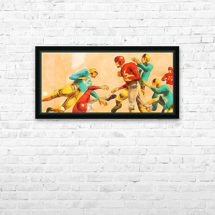 Vintage 1950s Football Art Print HD Sublimation Metal print with Decorating Float Frame (BOX)