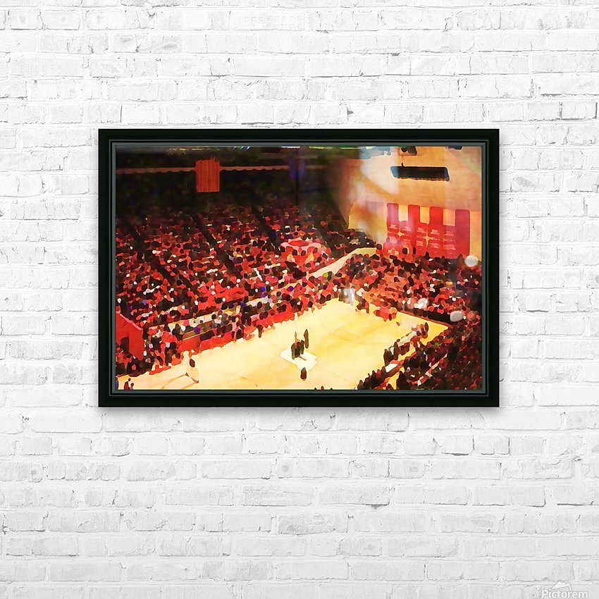 1987_College_Basketball_Indiana Hoosiers_Bloomington Assembly Hall Watercolor Basketball Art Print HD Sublimation Metal print with Decorating Float Frame (BOX)