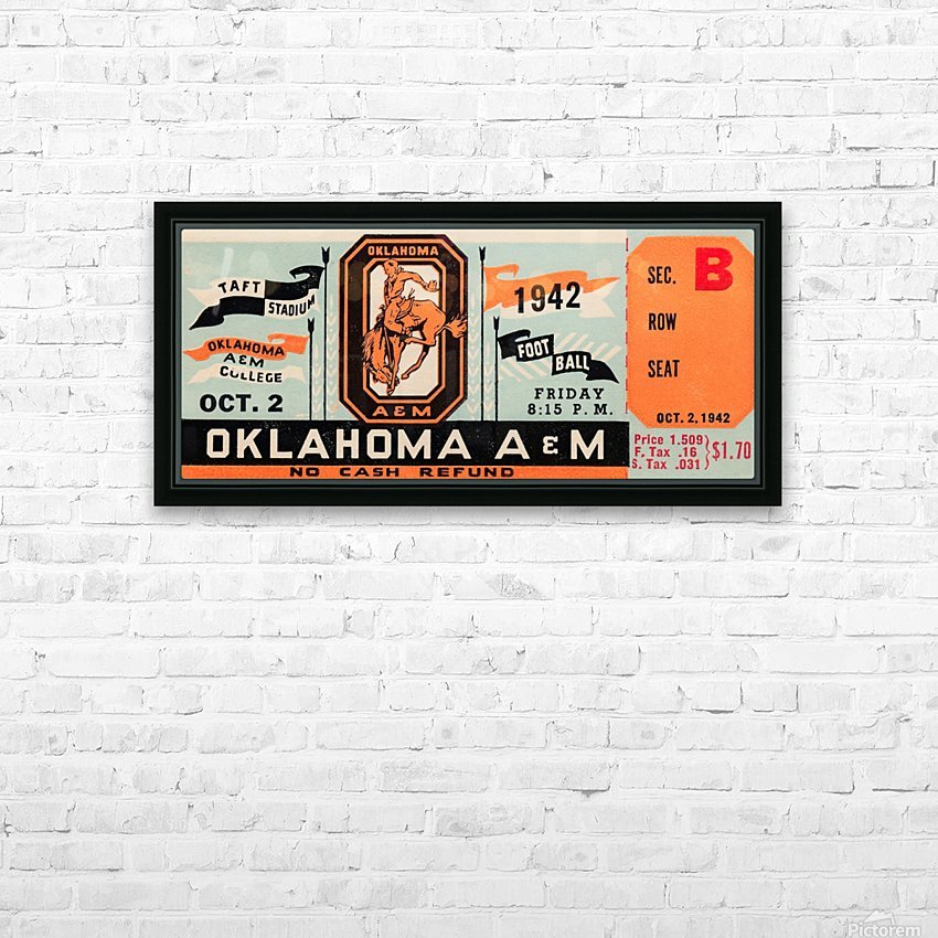 Oklahoma A&M Aggies Football Ticket Stub Art OSU Cowboys Ok State College Football Art HD Sublimation Metal print with Decorating Float Frame (BOX)