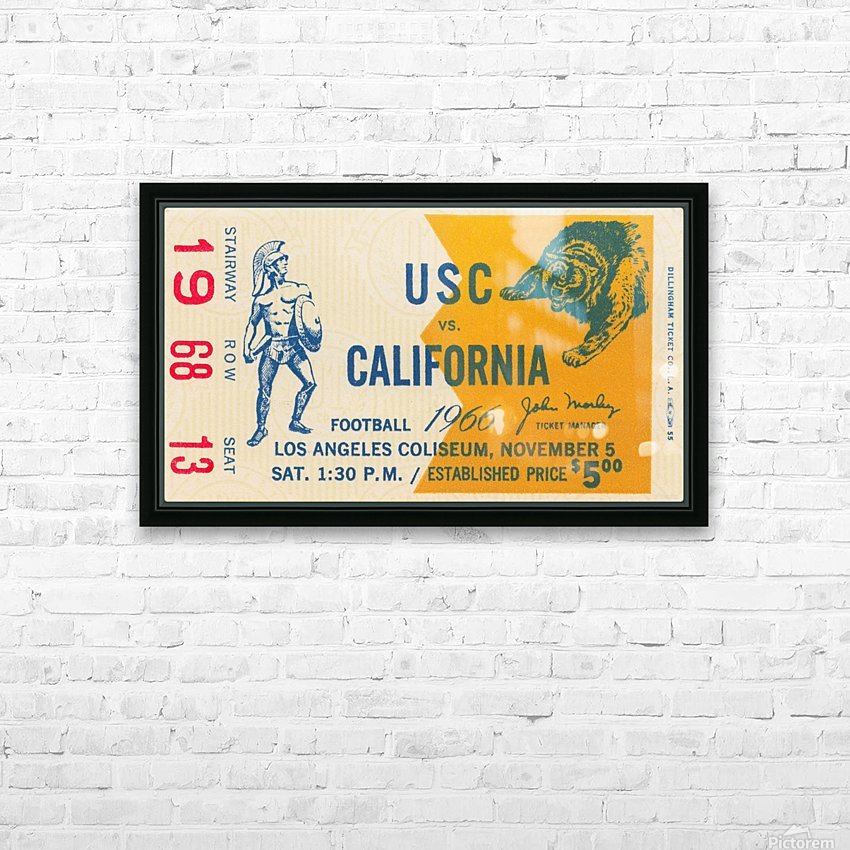 College Football Ticket Stub Collection_1966 USC vs. California Football Ticket Art Row One Brand (1) HD Sublimation Metal print with Decorating Float Frame (BOX)