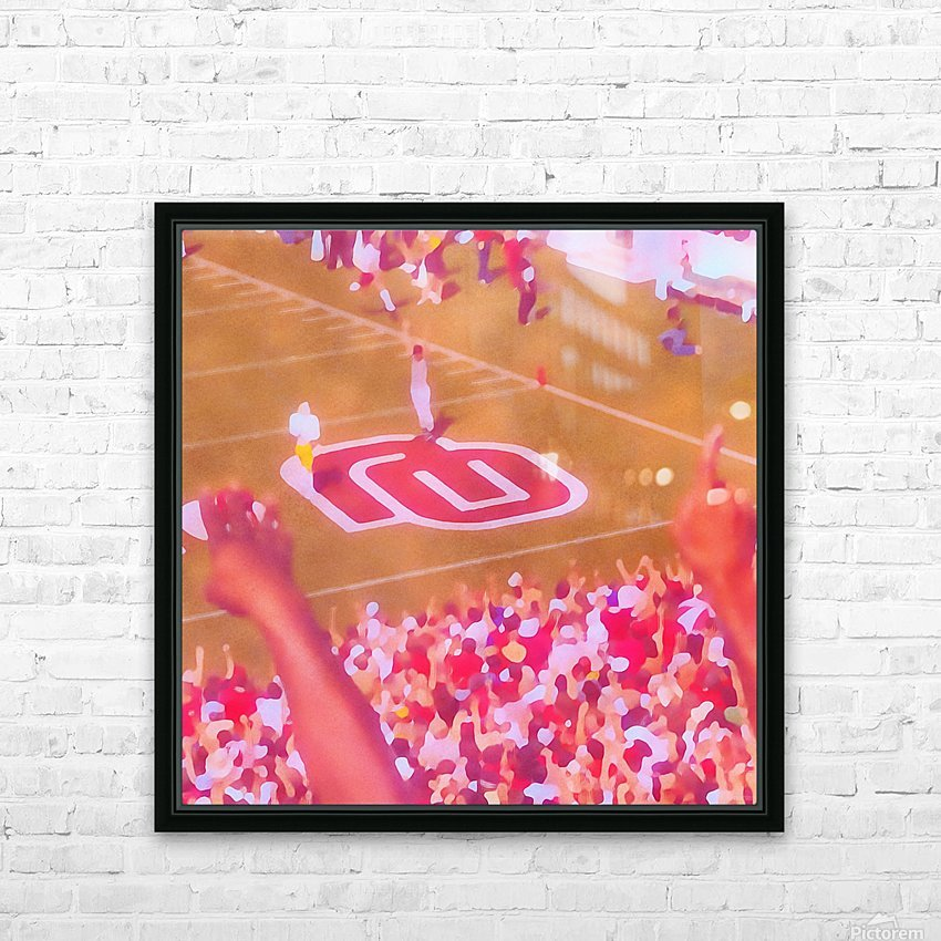 Oklahoma Football Art Owen Field OU Sooners Touchdown Art_Watercolor Style Retro 1980s Sports Art HD Sublimation Metal print with Decorating Float Frame (BOX)