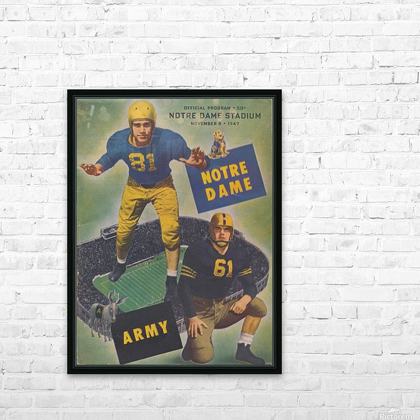 1947 Army vs. Notre Dame Football Program Cover Art_Vintage College Football Program (1) HD Sublimation Metal print with Decorating Float Frame (BOX)
