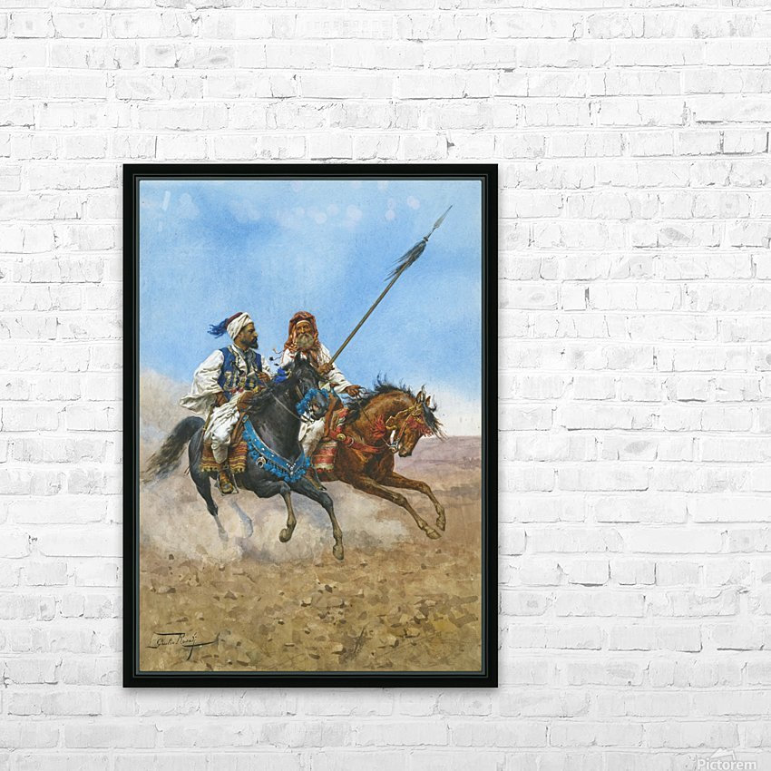 Arab riders HD Sublimation Metal print with Decorating Float Frame (BOX)