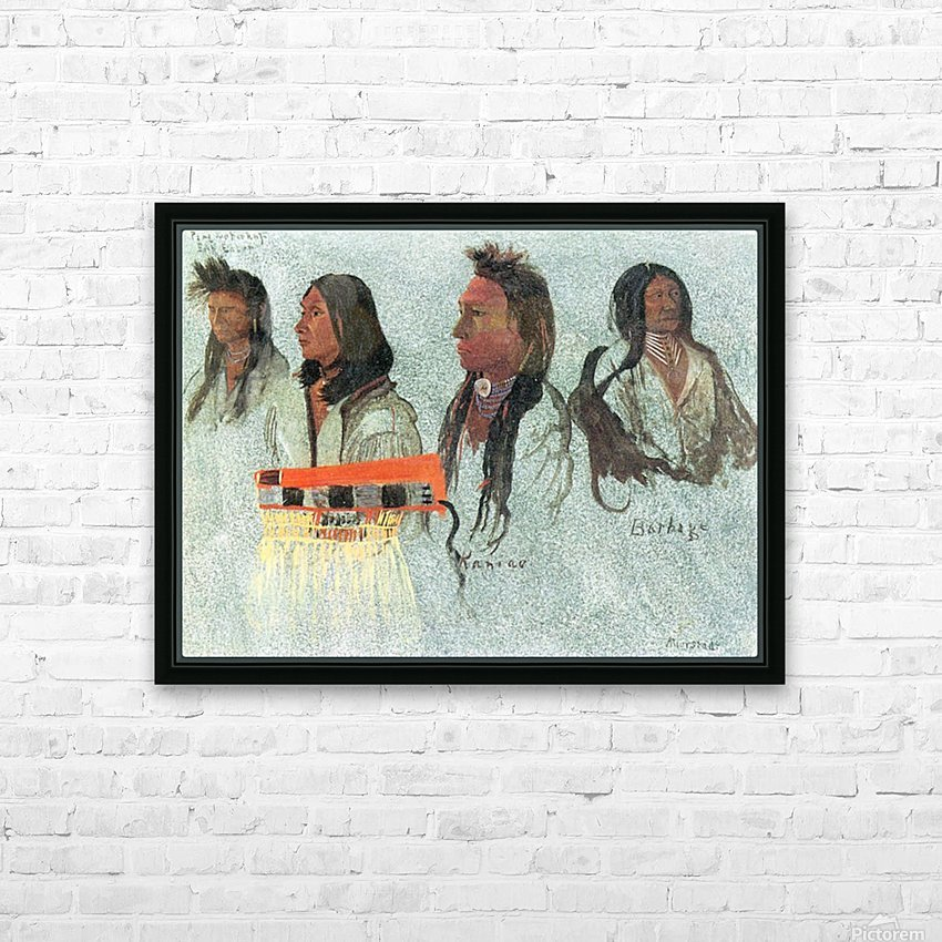 Four Indians by Bierstadt HD Sublimation Metal print with Decorating Float Frame (BOX)