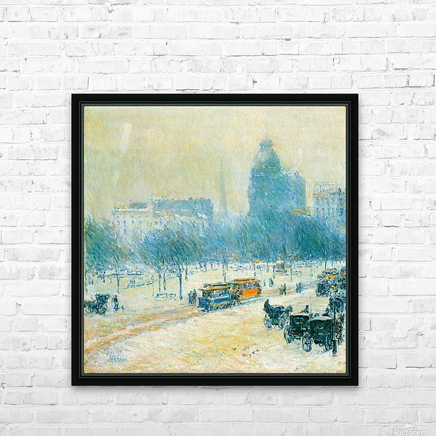 Winter in Union Square by Hassam HD Sublimation Metal print with Decorating Float Frame (BOX)