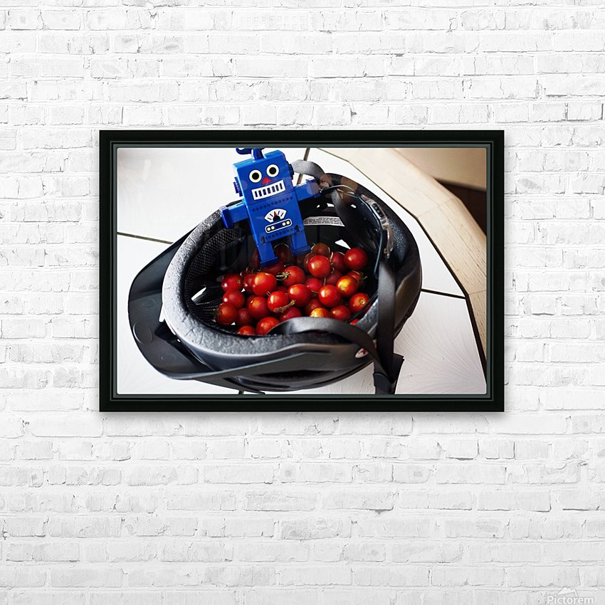 Robot Bike Helmet Tomatoes HD Sublimation Metal print with Decorating Float Frame (BOX)