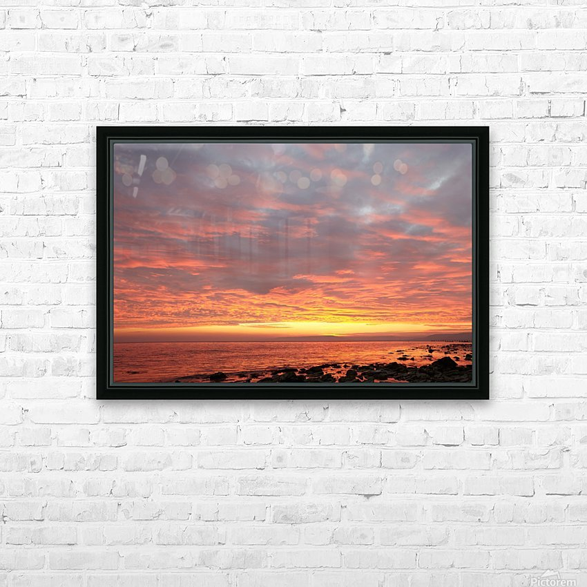 Dramatic sunset at a small bay HD Sublimation Metal print with Decorating Float Frame (BOX)