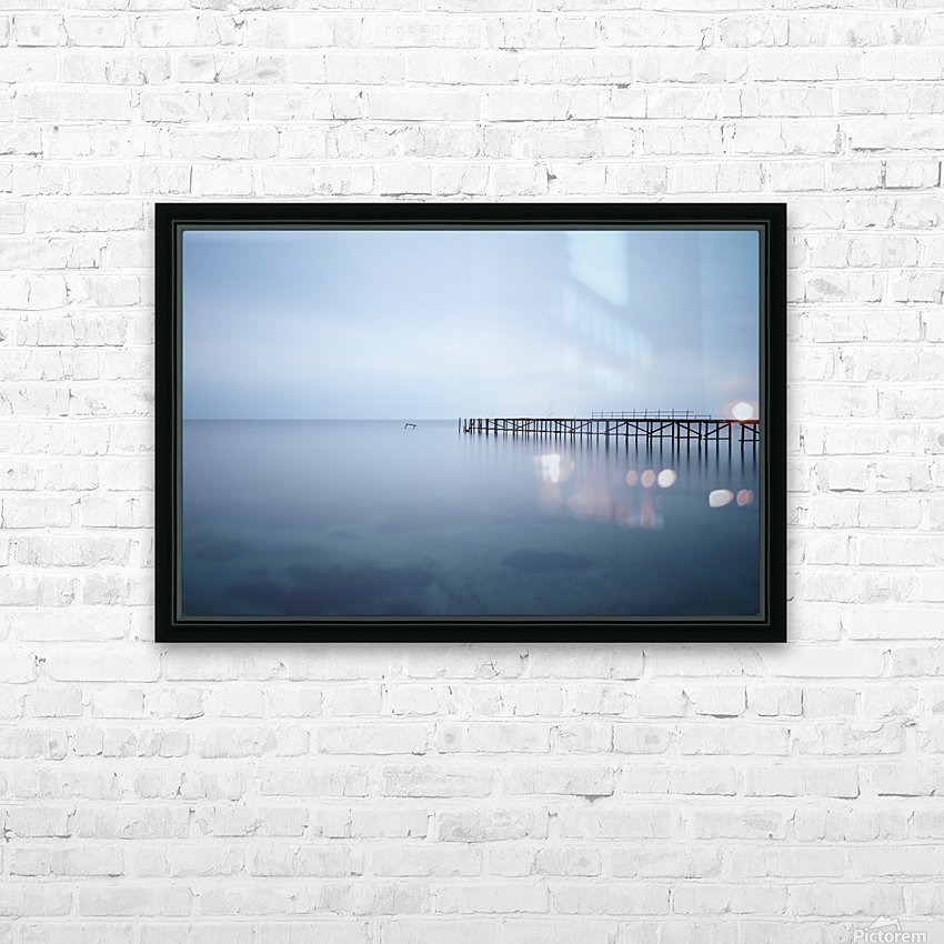 Abandoned pier in the sea at sunset HD Sublimation Metal print with Decorating Float Frame (BOX)