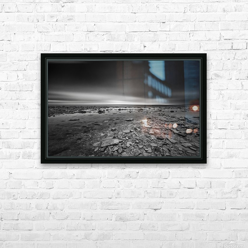 Dramatic sunset at a small bay and rocky beach HD Sublimation Metal print with Decorating Float Frame (BOX)