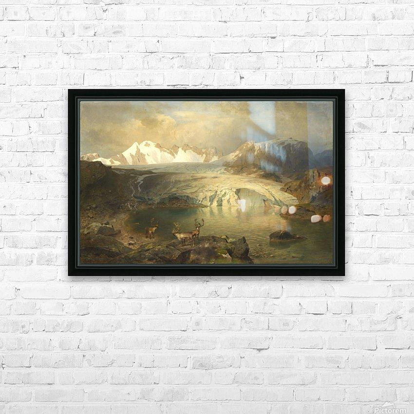 Fjordlandschaft mit Gletscher und Rentieren HD Sublimation Metal print with Decorating Float Frame (BOX)