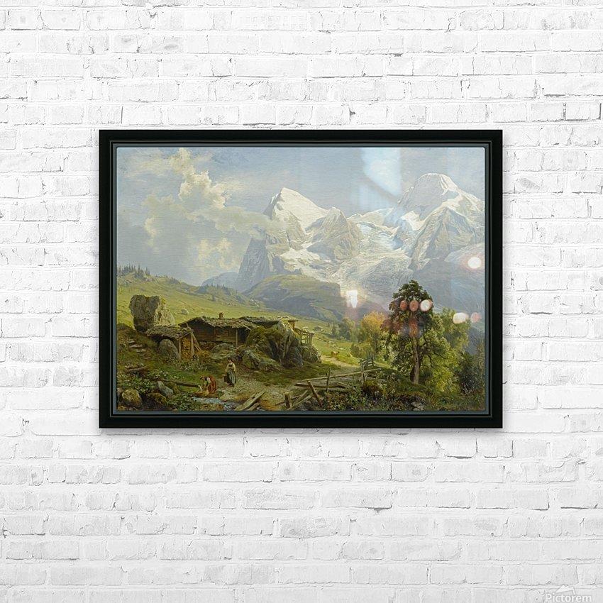 Blick von der Wengerenalp auf Eiger und Monch HD Sublimation Metal print with Decorating Float Frame (BOX)