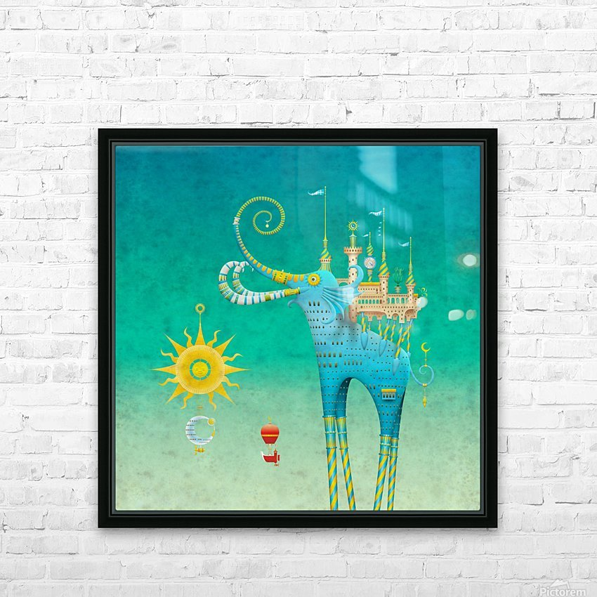 Castellini Elephantini Azure HD Sublimation Metal print with Decorating Float Frame (BOX)