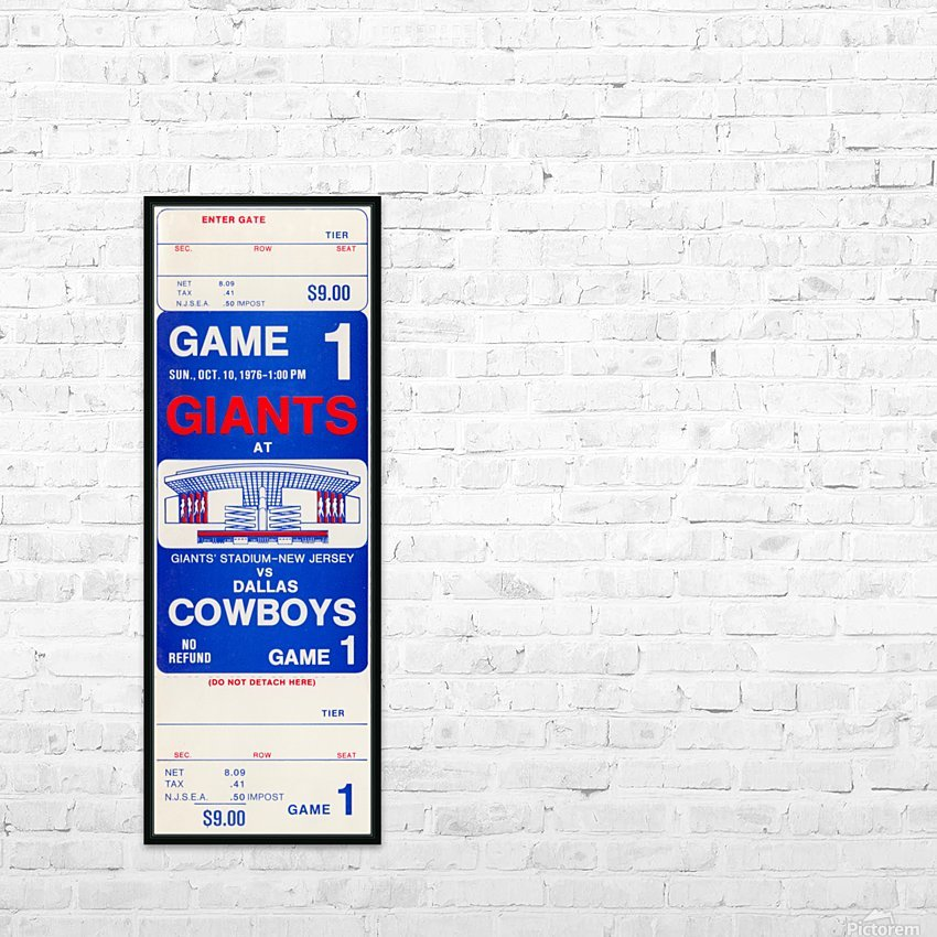 1976 dallas cowboys new york giants nfl ticket stub poster art reproduction football wall artwork HD Sublimation Metal print with Decorating Float Frame (BOX)
