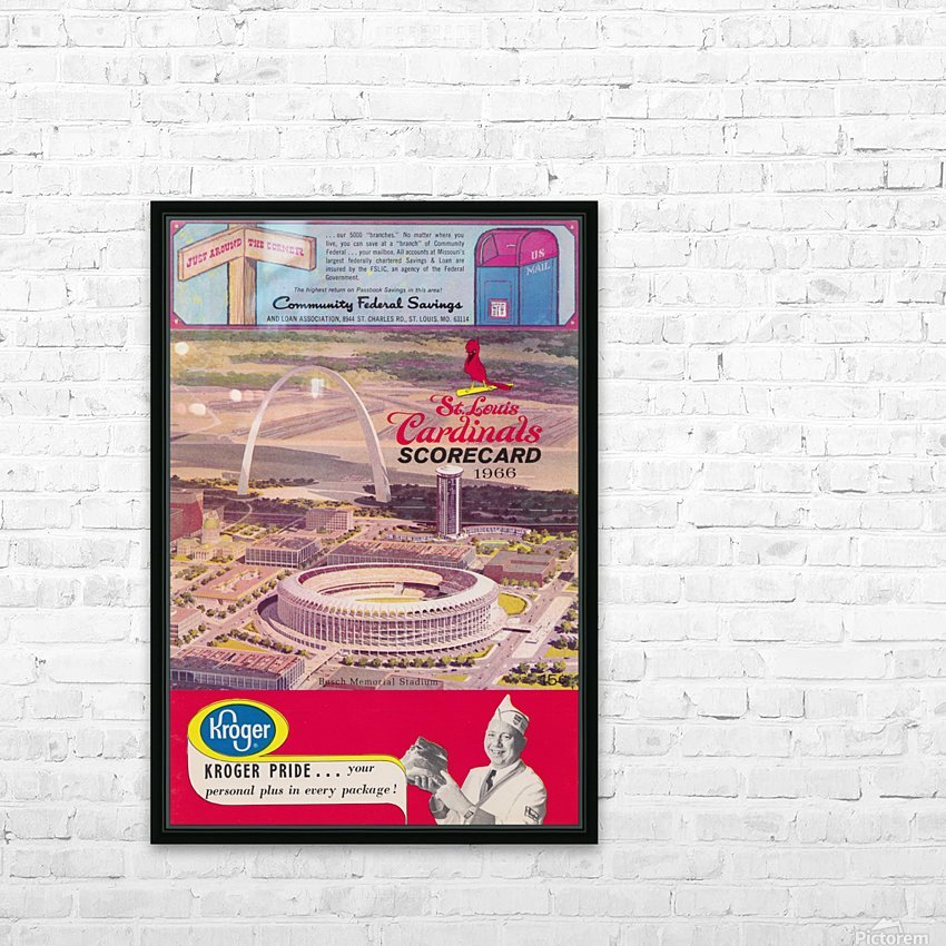 1966 St. Louis Cardinals Opening Game New Busch Stadium Scorecard Kroger Food Ad Poster HD Sublimation Metal print with Decorating Float Frame (BOX)