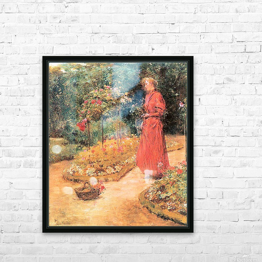 Woman cuts roses in a garden by Hassam HD Sublimation Metal print with Decorating Float Frame (BOX)