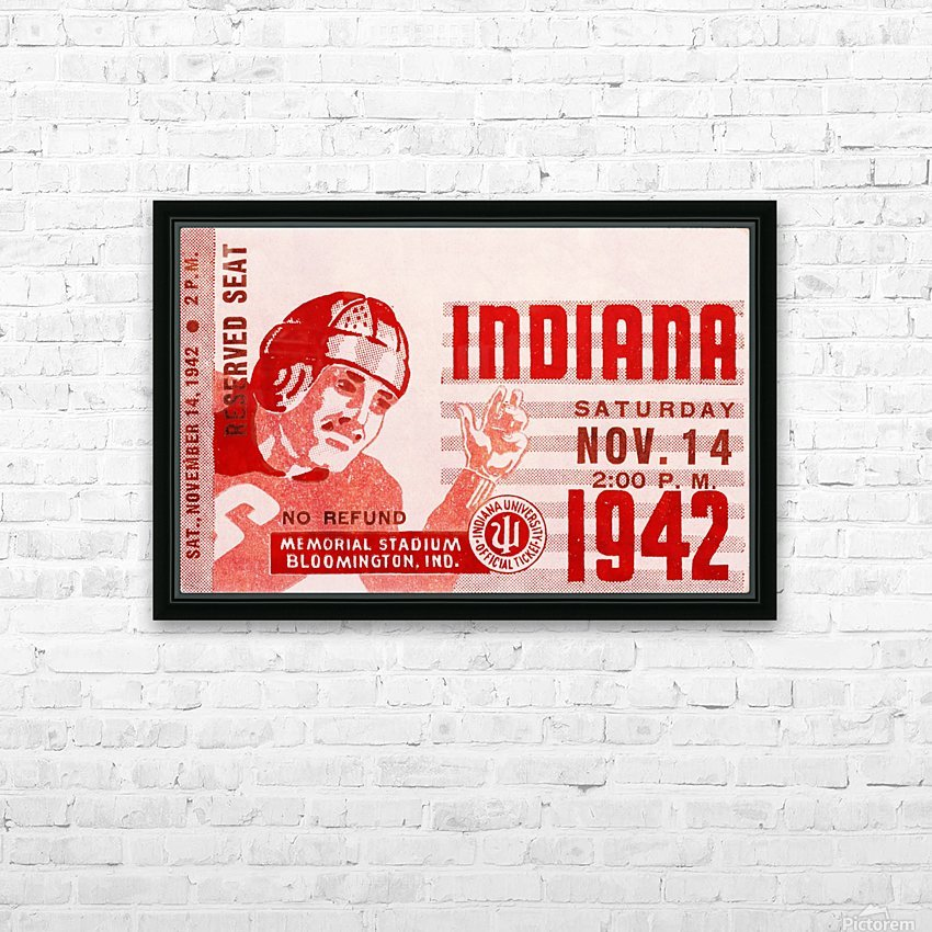 1942 Indiana Football Art HD Sublimation Metal print with Decorating Float Frame (BOX)