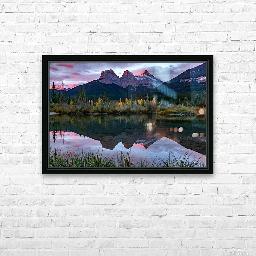 Three Sisters Fall Sunrise Canmore HD Sublimation Metal print with Decorating Float Frame (BOX)