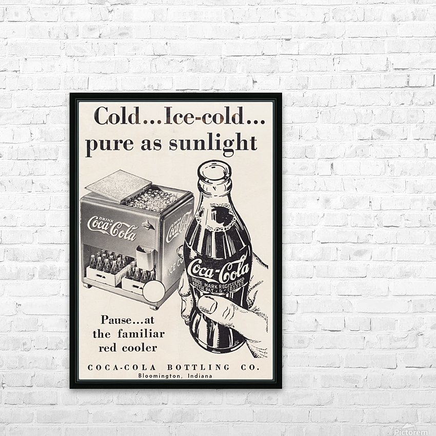 Vintage Coke Ad Bloomington Indiana HD Sublimation Metal print with Decorating Float Frame (BOX)