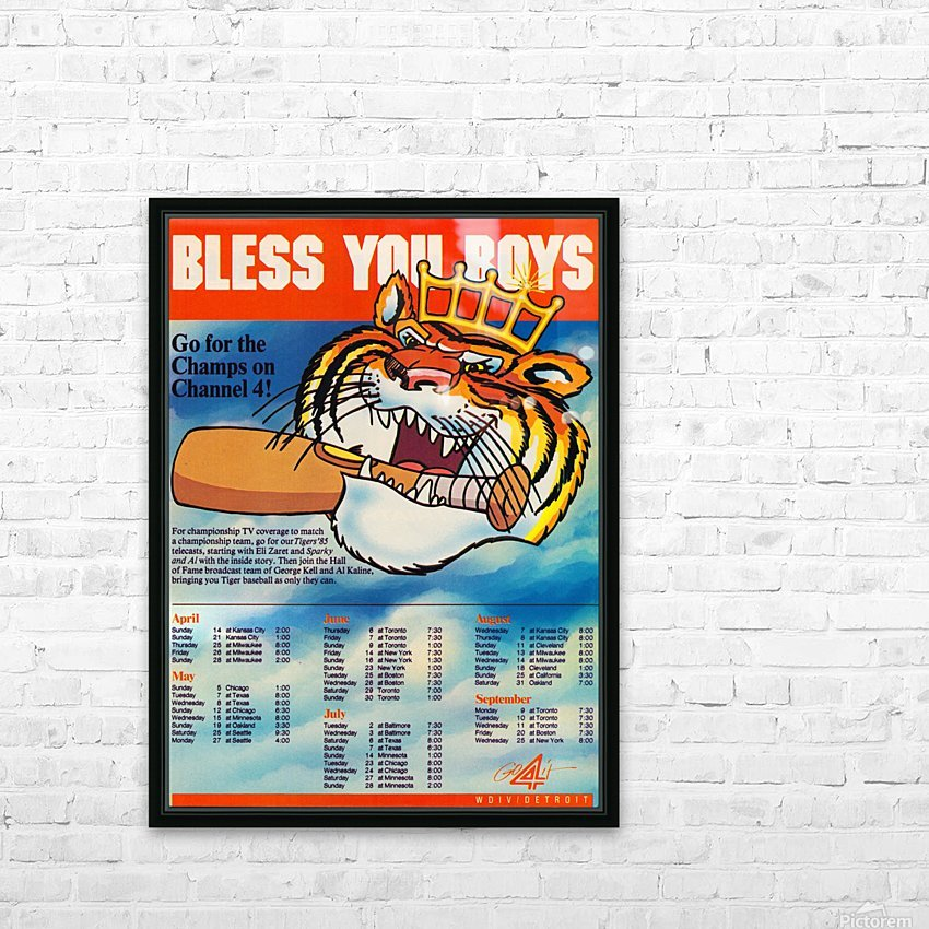 1985 detroit tigers bless you boys channel 4 wvid detroit michigan television tv ad poster metal art HD Sublimation Metal print with Decorating Float Frame (BOX)