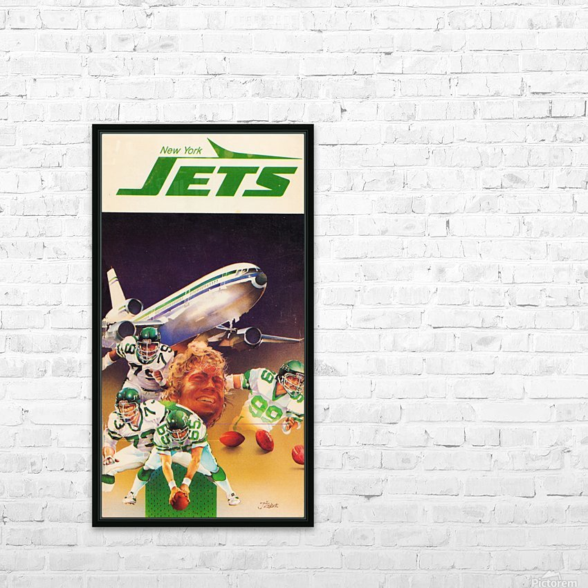 1982 new york jets art artist george zebot HD Sublimation Metal print with Decorating Float Frame (BOX)